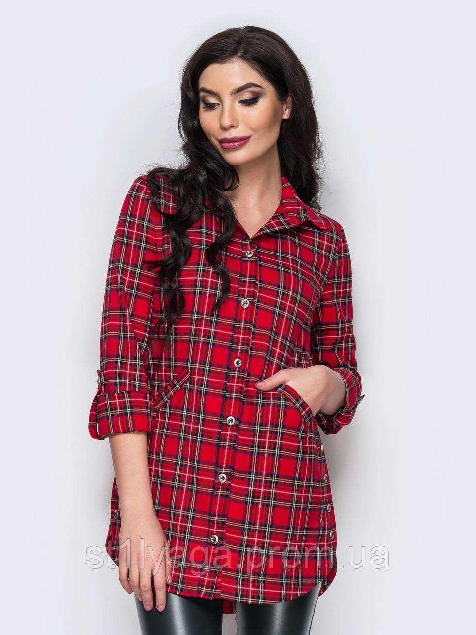 68f90e3d2df Удлиненная рубашка в клетку с длинными регулируемыми рукавами красный