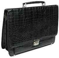 Мужской портфель из искусственной кожи под крокодила черный 276 black