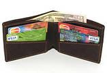 Кожаный кошелек портмоне для денег визиток платежных карт Бордо, фото 3