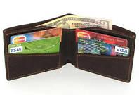 Кожаный кошелек портмоне для денег визиток платежных карт Коричневый