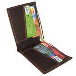 Кожаный кошелек портмоне для денег визиток платежных карт Коричневый, фото 3