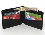Кожаный кошелек портмоне для денег визиток платежных карт Черный, фото 2