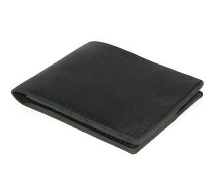 Кожаный кошелек портмоне для денег визиток платежных карт Черный