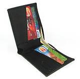 Кожаный кошелек портмоне для денег визиток платежных карт Черный, фото 3