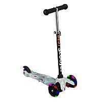 Самокат с алюминиевой рулевой трубкойи светящимися колесами Best Scooter, 1206