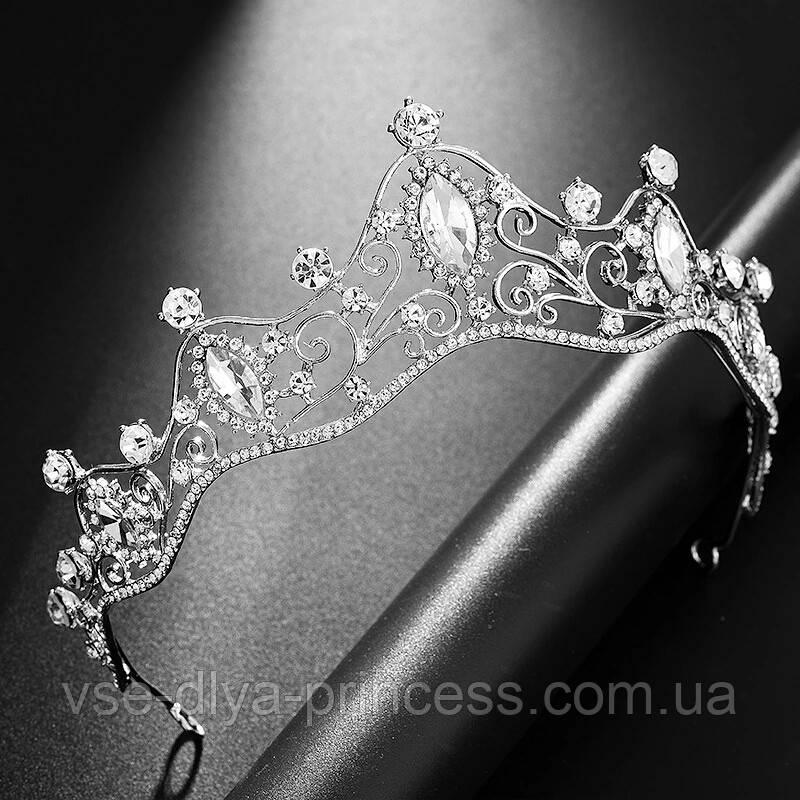 Диадема для девочки, тиара, корона под серебро, высота 4,5 см.