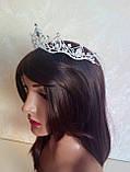 Диадема для девочки, тиара, корона под серебро, высота 4,5 см., фото 5