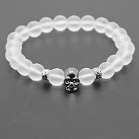 Мужской каменный браслет mod.Skull white, фото 1