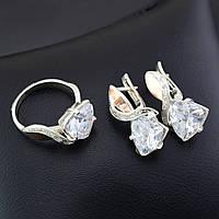Серебряный набор, кольцо размер 19.5 + серьги 25*13 мм