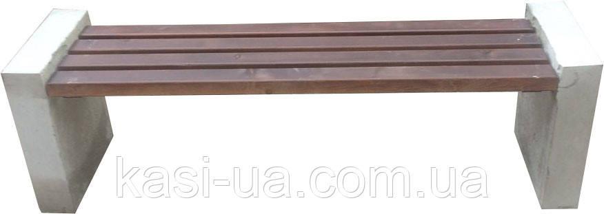 Лавка садово-парковая без спинки с бетонным основанием №1