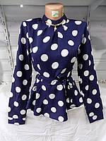 Блузка женская (креп-шифон) весна-осень 8506 (цвет темно-синий) оптом со склада