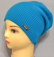 """Детские вязаные однотонные шапки на осень и зиму """"Жанна""""."""