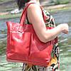 Женская кожаная сумка с карманами красная, фото 4