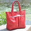 Женская кожаная сумка с карманами красная, фото 5