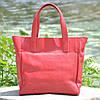Женская кожаная сумка с карманами красная, фото 6