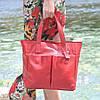 Женская кожаная сумка с карманами красная, фото 2