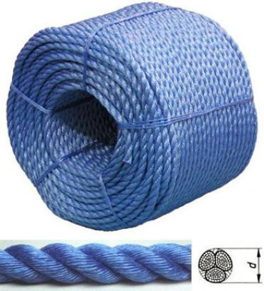 "Веревка для лодки, катера, яхты 8мм, 200м/POLYESTER DOUBLE TWISTED ROPE ""BLUE COLOUR"""