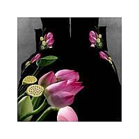 Комплект постельного белья Love You сатин Цветы лотоса Евро