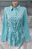 Платье-рубашка женское с поясом 8892 Chanel трансформер (весна-осень) (цвет мята) оптом со ск