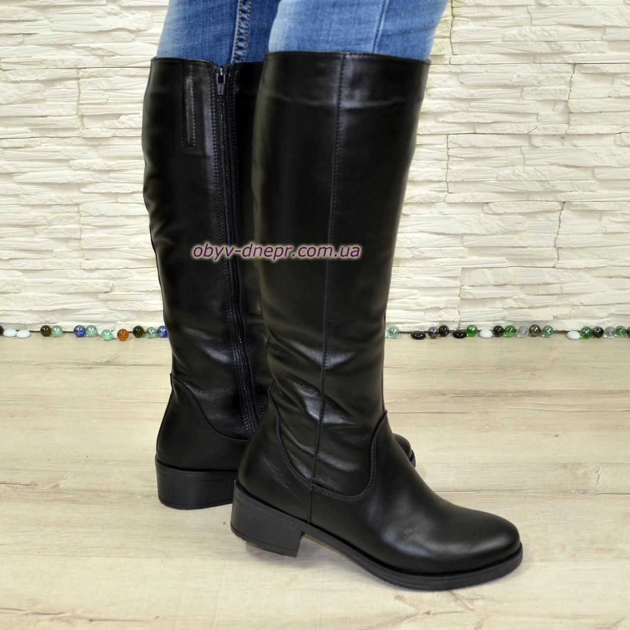 Сапоги кожаные женские зимние на невысоком каблуке