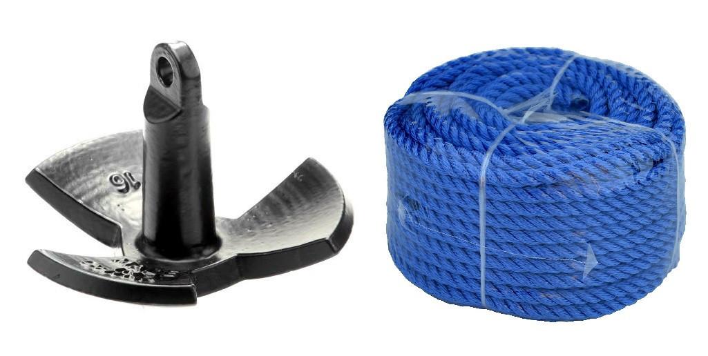 Якір ромашка для човни, катери комплект River PE 30lbs/13.6 кг+30м 10мм синя