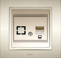 Розетка компьютерная (САТ 6) с рамкой Ел би Зена Кремовая