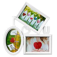 Настенная фоторамка-коллаж 3Ф «I love You» белая( Подарок на 14 февраля )