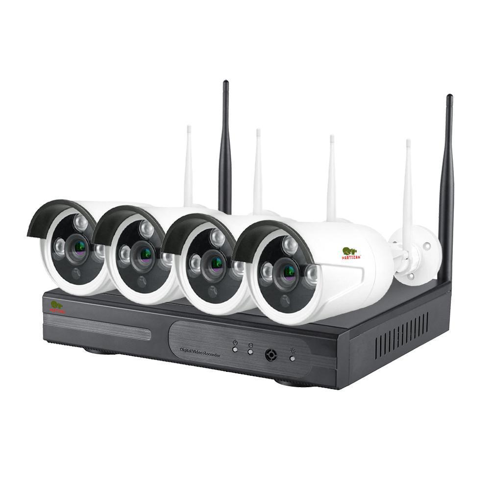 Набор видеонаблюдения для улицы Wi-Fi Partizan IP-21 4xCAM + 1xNVR 1Мп . Гарантия 3 года!