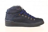 Ботинки мужские, зимние, из натурального нубука, на меху, синие, на шнурках