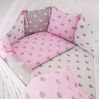 Постельный комплект Baby Design Серо-розовые сердца