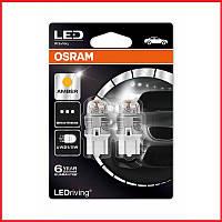 Лампа светодиодная Osram LED (W21/5W 3Wх16q 12V 6000K Amber) комплект 2 шт