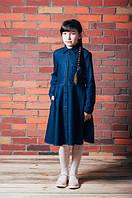 Джинсовое  детское платье-рубашка, длины миди.
