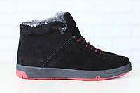 Мужские спортивные зимние ботинки, на меху, замшевые, на шнурках, черные
