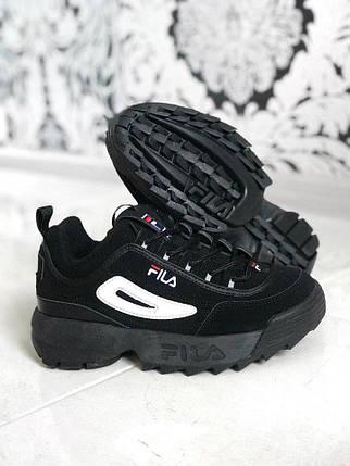 Размер 44 и 45!!! Мужские кроссовки Fila Disruptor II Black (Рефлективные)/ філа /реплика (1:1 к оригиналу), фото 2