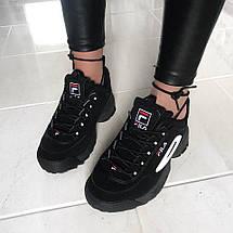Размер 44 и 45!!! Мужские кроссовки Fila Disruptor II Black (Рефлективные)/ філа /реплика (1:1 к оригиналу), фото 3