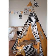 Вигвам желто-черный Кошка, детская игровая палатка