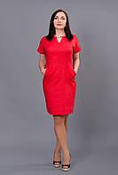 Летнее женское платье Лен красный р.46-52 V237-06