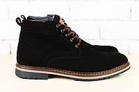 Ботинки мужские, зимние, из натуральной замши, на шнурках, черные