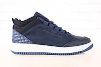 Кросовки мужские, зимние, из натурального нубука, с кожаными вставками, темно-синие, на меху, на шнурках
