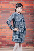 Модное трикотажное платье для девочки, свободного кроя