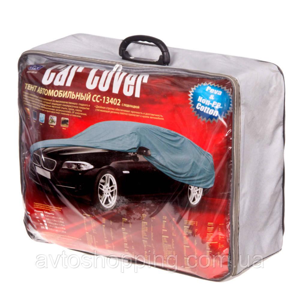 Тент, чехол для автомобиля Седан с подкладкой Vitol CC13402 M Серый  432х165х120 см