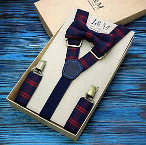 Набор I&M Craft галстук-бабочка и подтяжки для брюк в клеточку (030201) , фото 2
