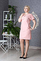 Летнее женское платье Лен пудра р.46-52 V237-03