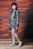 Платье-туника с люрексом и удлиненной спинкой, на девочку