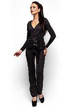 """Красивый женский костюм пиджак плюс брюки Агат черный """"KR"""""""