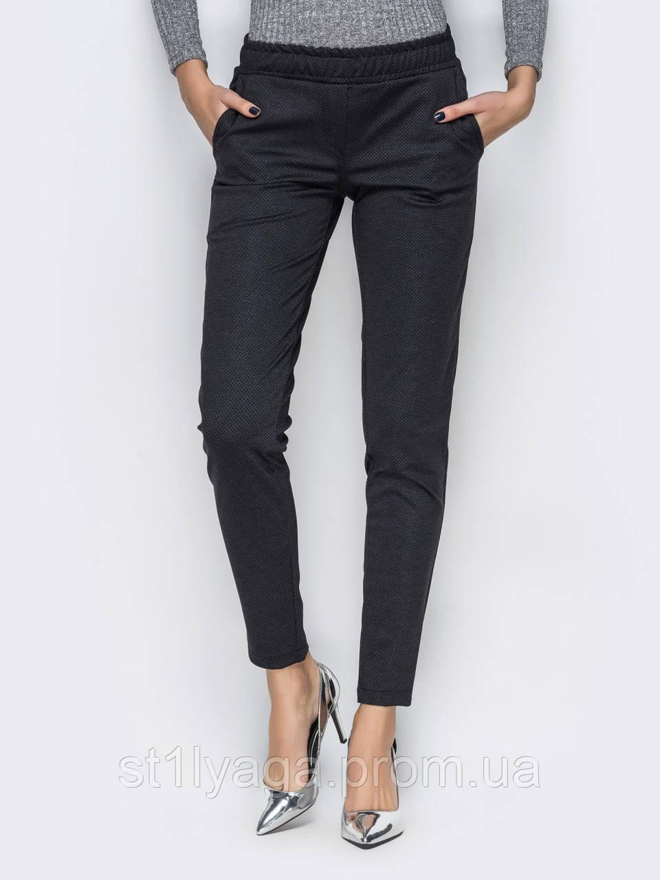 Стильные брюки с поясом на резинке зауженные к низу с косыми карманами