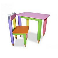 """Детский комплект """"Карандашики"""" столик 60*40 с пеналом и стульчиком"""