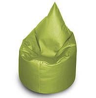 Салатовое бескаркасное кресло мешок Капелька из кож зама Зевс