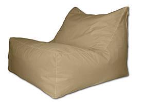 Бежевое бескаркасное кресло лежак из ткани Оксфорд