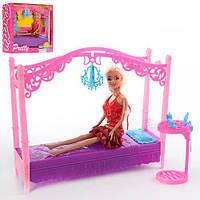 Мебель для кукол кровать, столик + Кукла 28см, в коробке